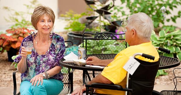 Two residents enjoy social life at Samaritan Bethany